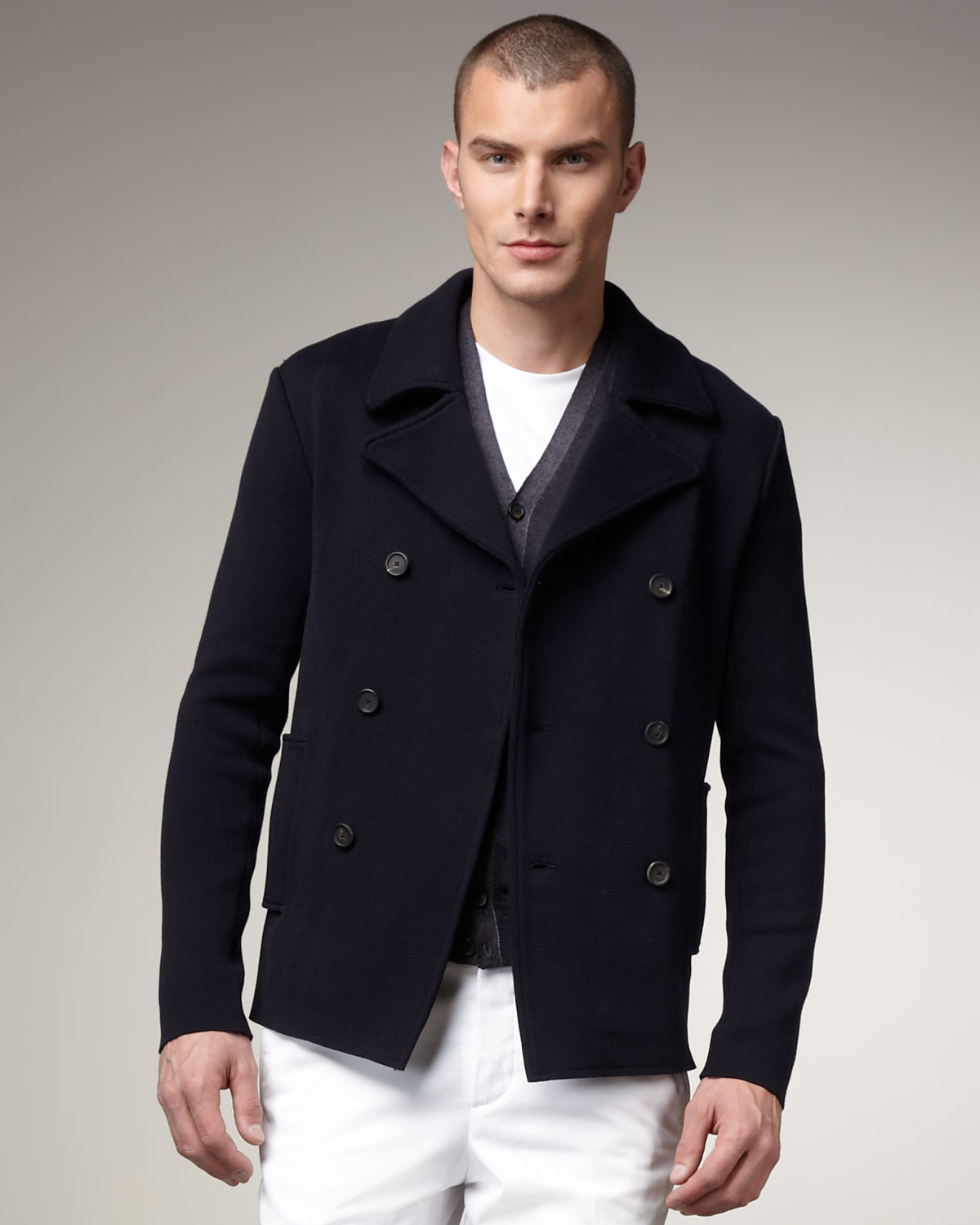 jil sander cotton pea coat in blue for men lyst. Black Bedroom Furniture Sets. Home Design Ideas