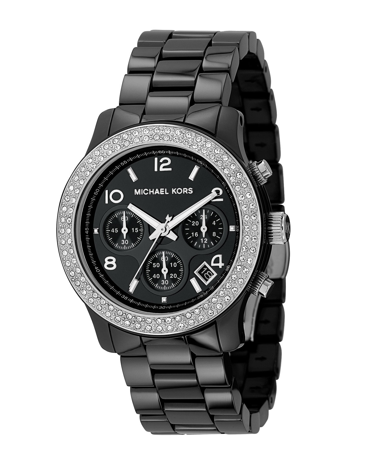 Michael Kors Mid-Sized Ceramic Watch with Glitz in Black ... Michael Kors Watches Black Ceramic
