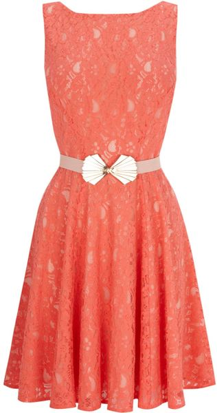 Oasis Deco Belted Lace Fit and Flare Dress - Lyst