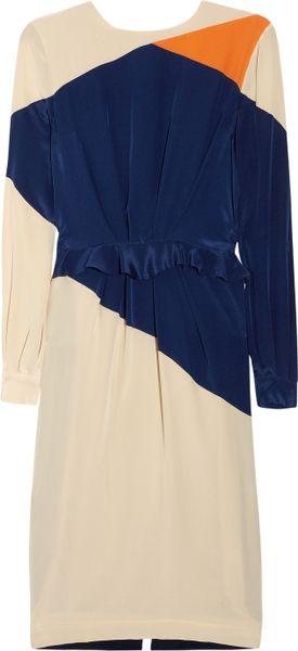 Preen By Thorton Bregazzi Rombus Silk Crepe De Chine Dress in Beige (cream)