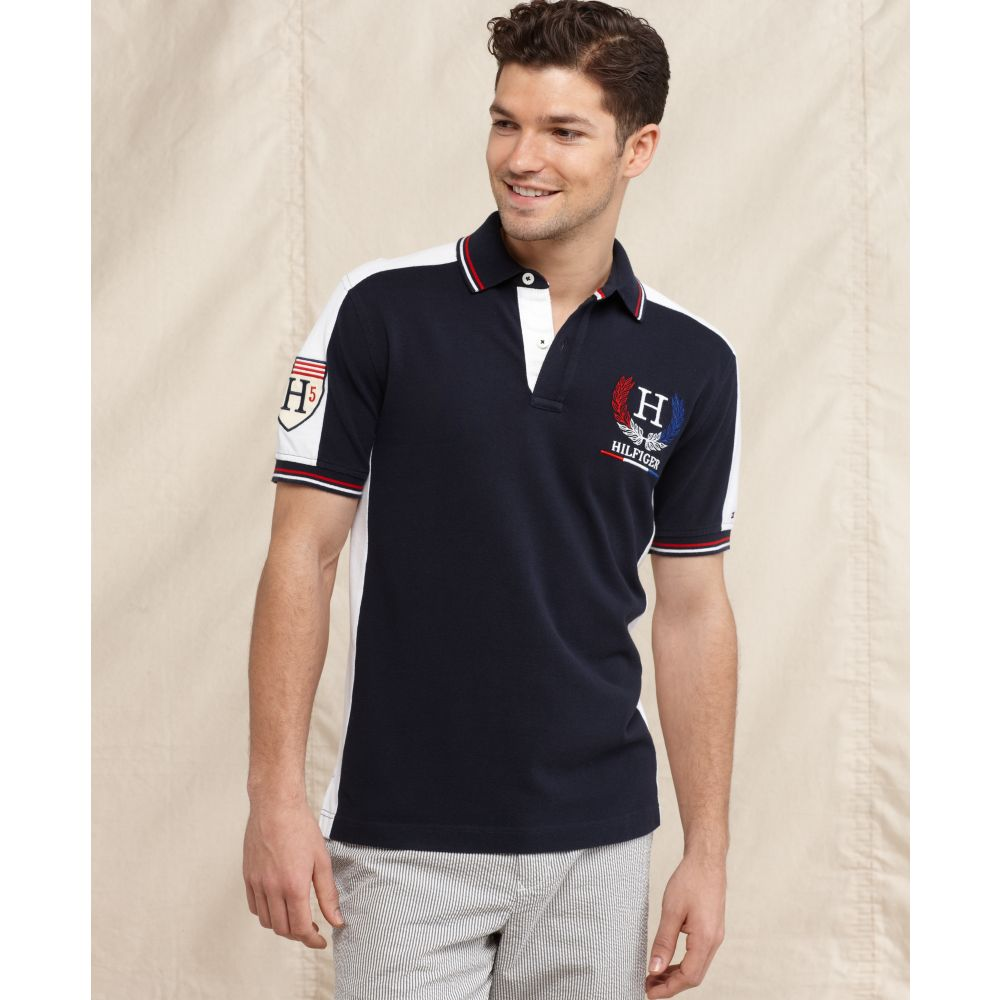 tommy hilfiger slim fit country polo shirt in black for. Black Bedroom Furniture Sets. Home Design Ideas
