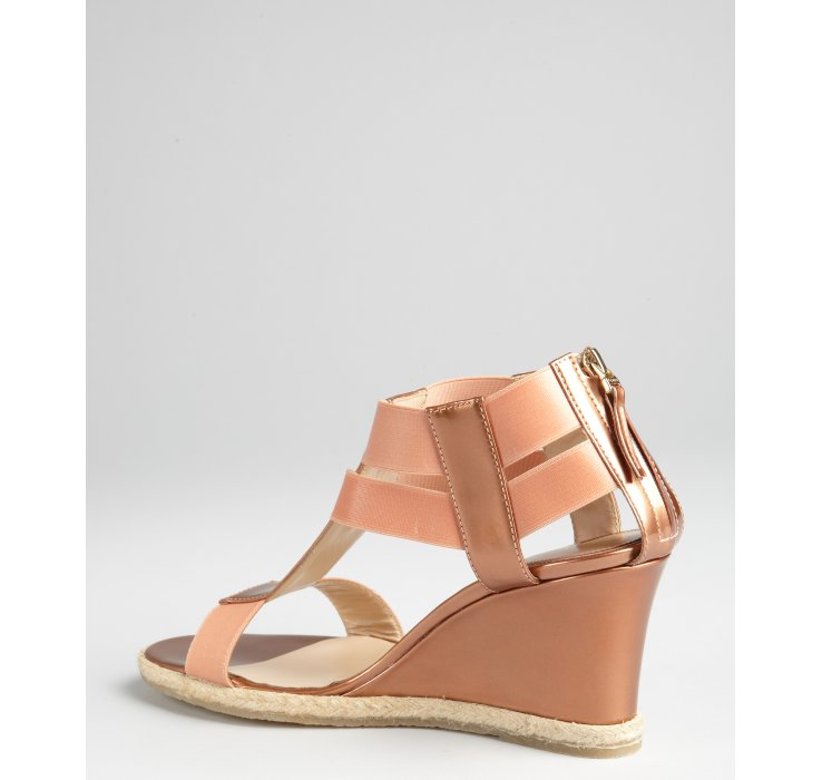 Lyst Fendi Rose Gold Patent Leather And Fabric Strappy