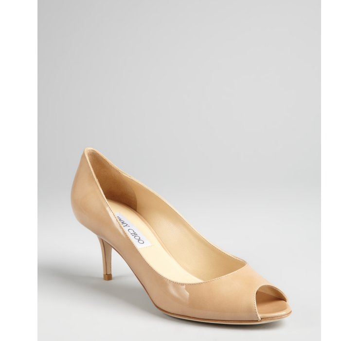 Jimmy choo Nude Patent Leather Isabel Peep Toe Kitten Heels in ...