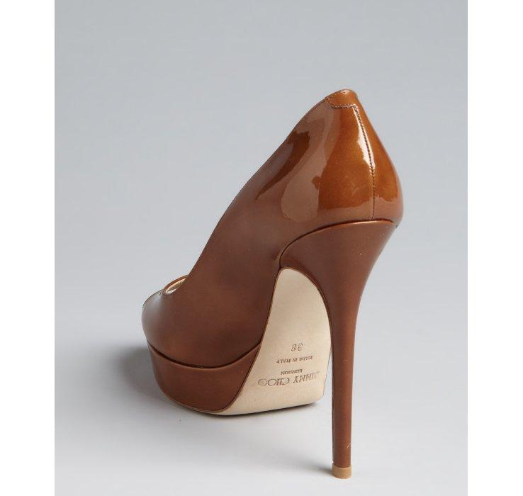 Lyst Jimmy Choo Tan Patent Leather Crown Peep Toe