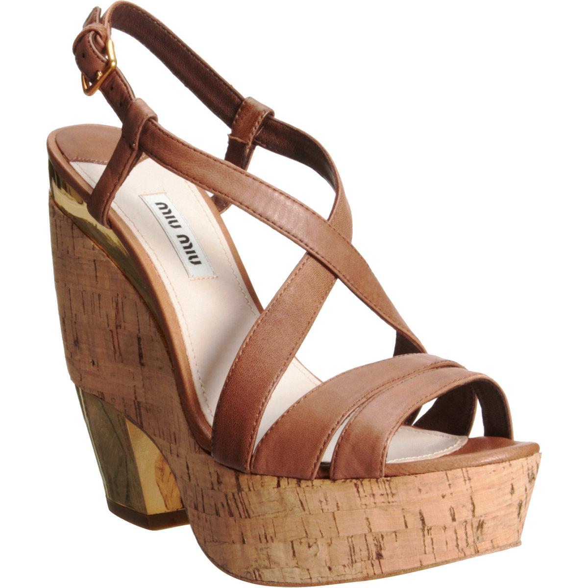 f88e01b7047 Miu Miu Cutout Wedge Sandal in Natural - Lyst