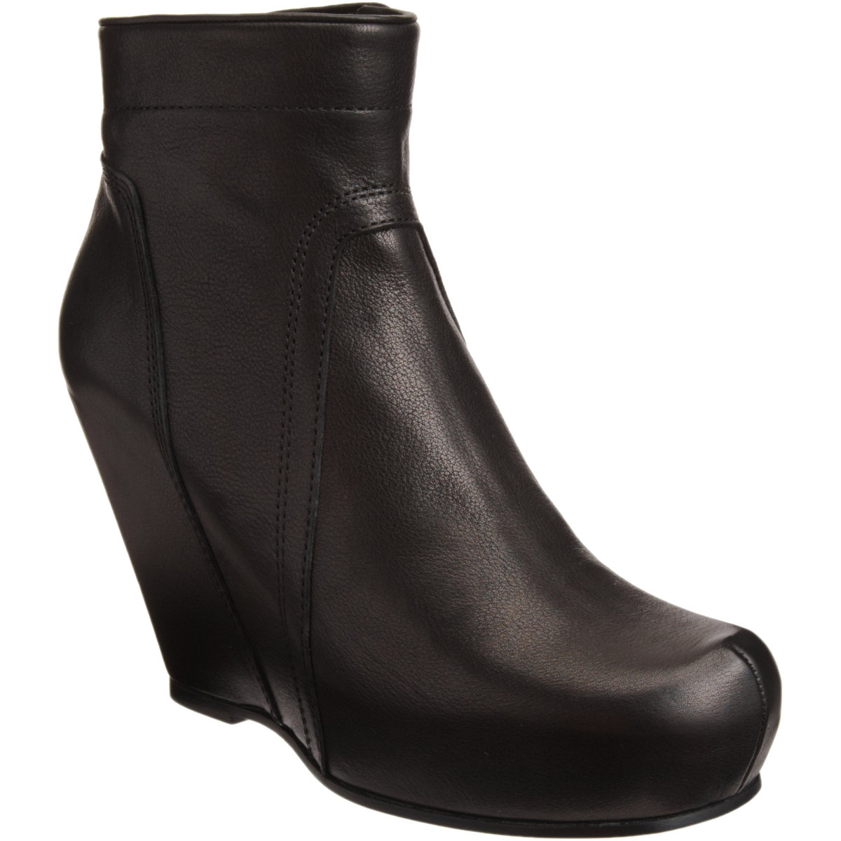 rick owens side zip wedge ankle boot in black silver lyst