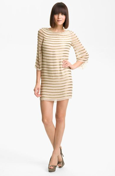 Alice + Olivia Silk Tunic Dress in Beige (nude)