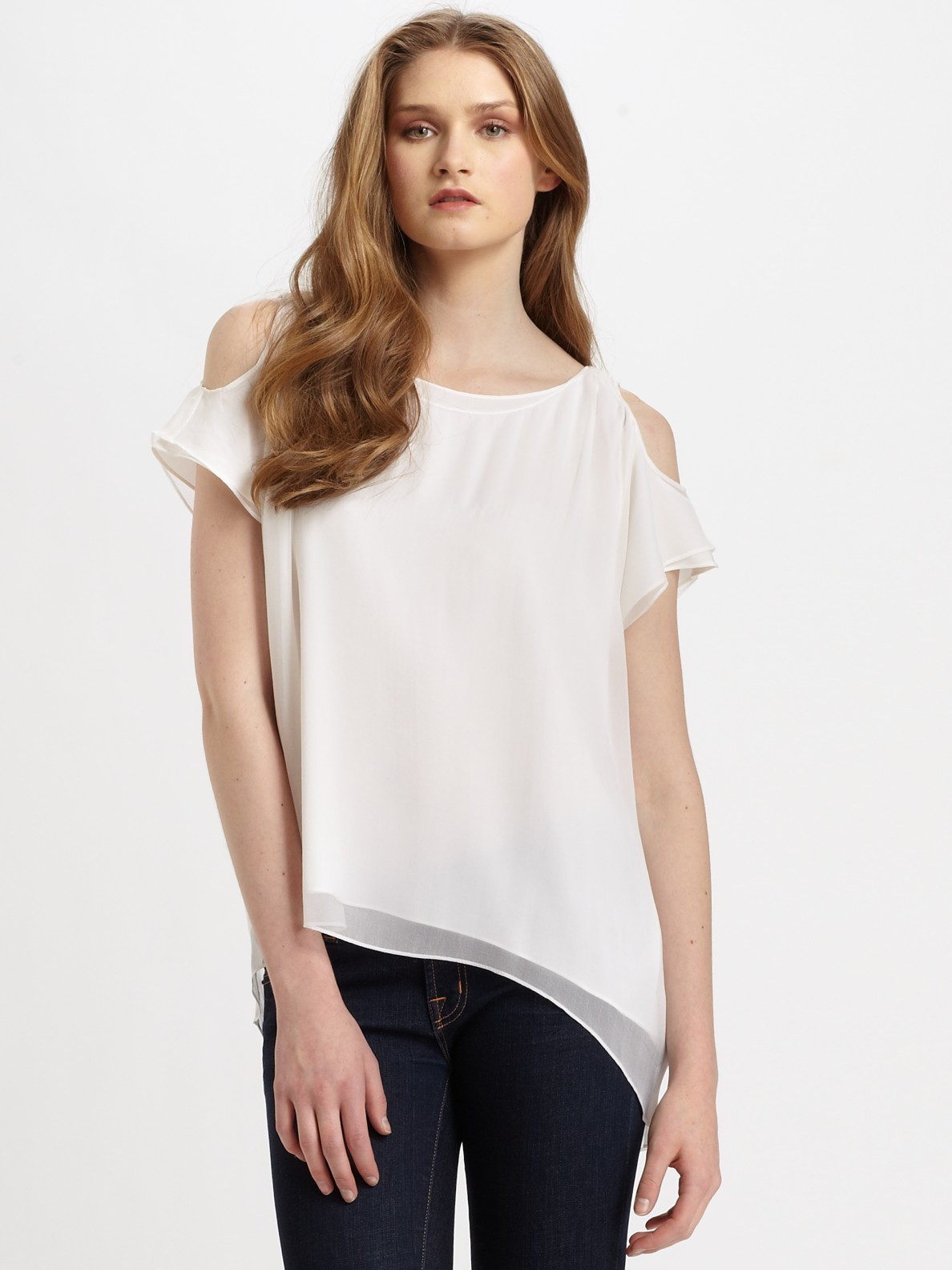 Women S White Ruffle Blouse