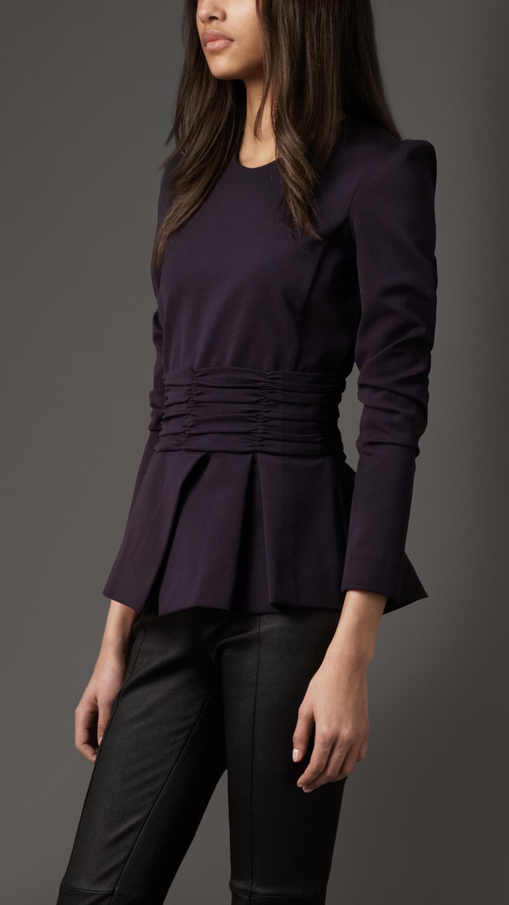 Burberry Pleated Peplum Jacket In Black True Navy Lyst