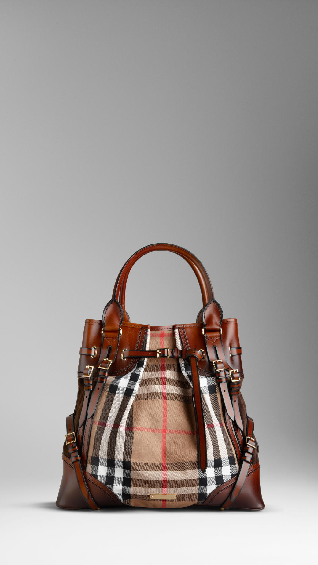 65467ec5792 Burberry Large Bridle House Check Whipstitch Tote Bag in Brown - Lyst
