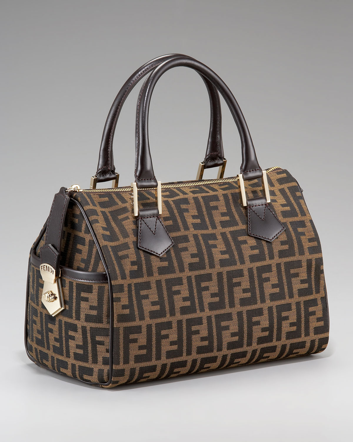 3a7293b2a2af ... germany lyst fendi medium zucca canvas boston bag tobacco in brown  9a17a a6318
