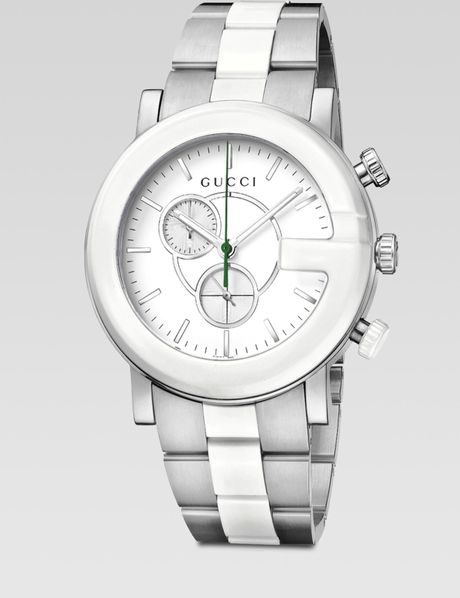 Gucci Ceramic Accented Stainless Steel Chronograph Watch in Silver - Lyst