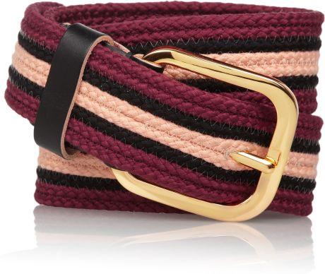 Marni Leathertrimmed Striped Woven Cotton Belt in Purple (merlot)