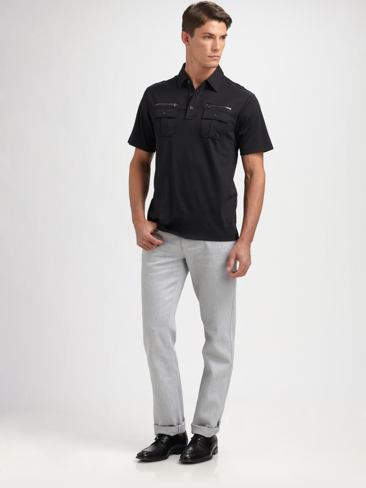 032c6b2d Michael Kors Zipper Pocket Polo Shirt in Black for Men - Lyst