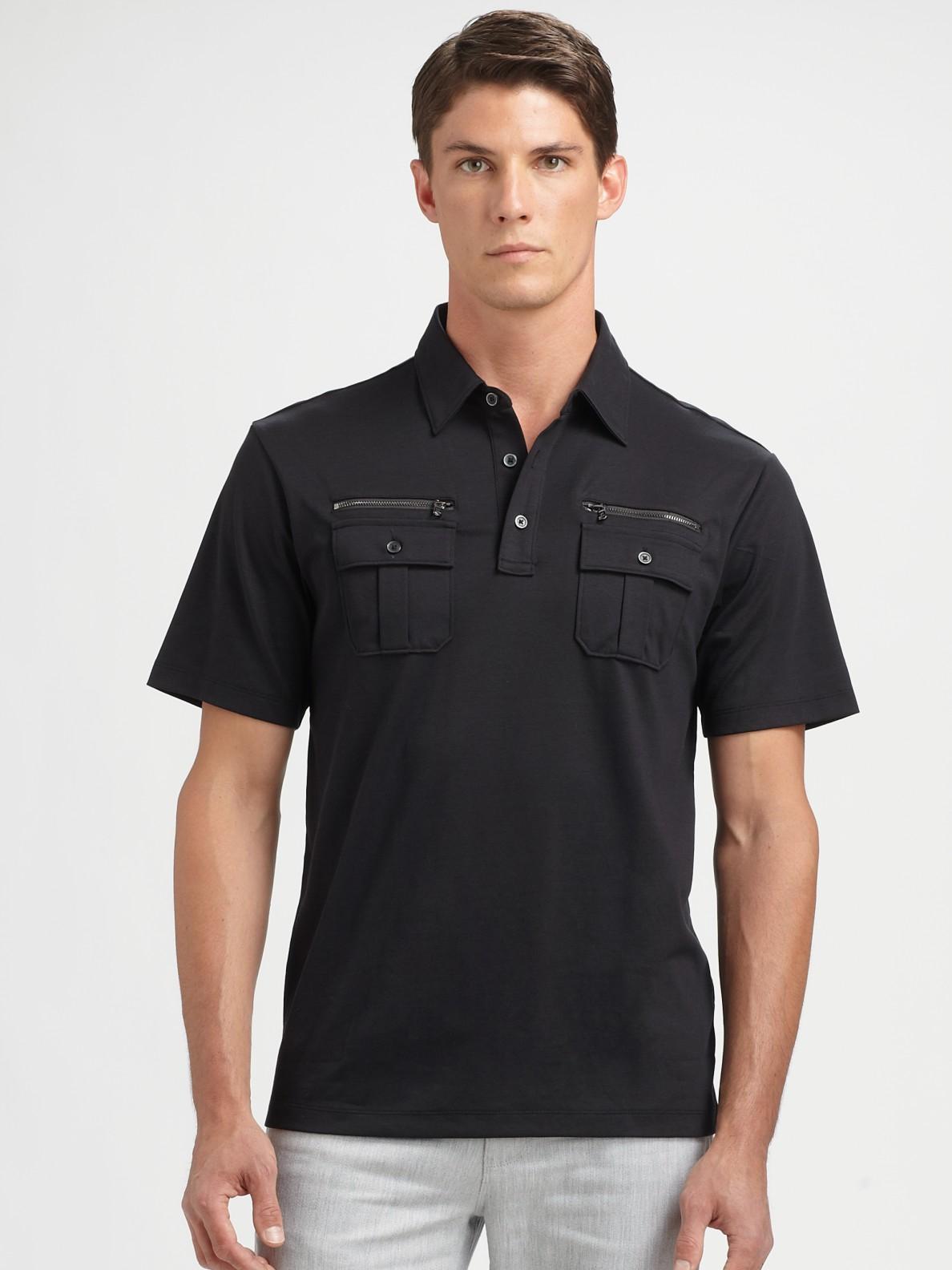 Lyst michael kors zipper pocket polo shirt in black for men for Two pocket polo shirt