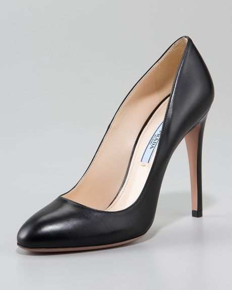 prada patent leather pump in black nude lyst. Black Bedroom Furniture Sets. Home Design Ideas