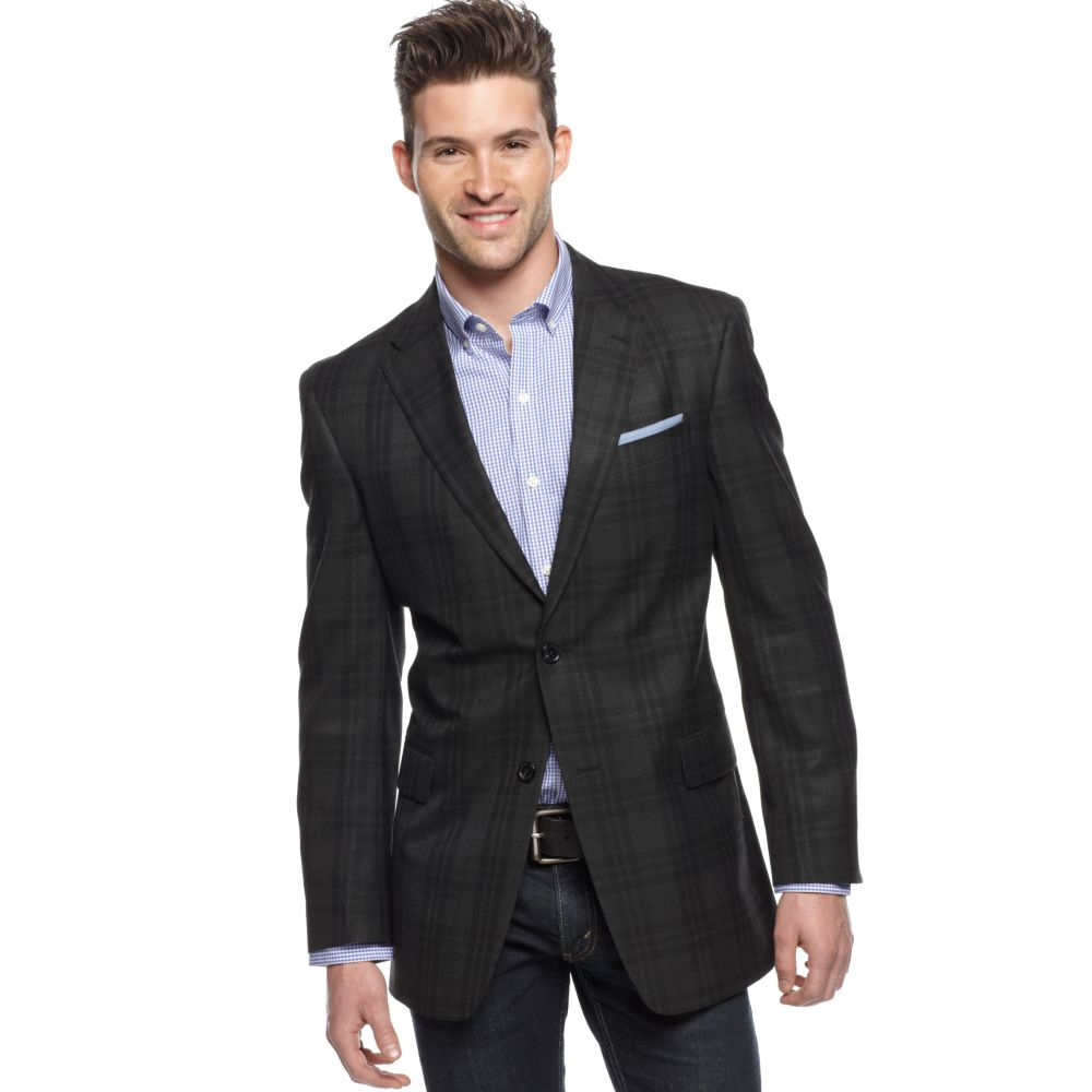 tommy hilfiger check slim fit blazer in gray for men. Black Bedroom Furniture Sets. Home Design Ideas
