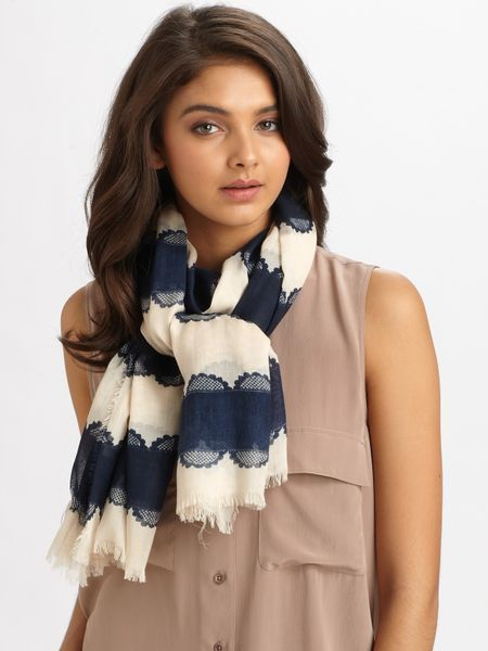 Tory Burch Silk Striped Lace Logo Scarf in Blue (navy)