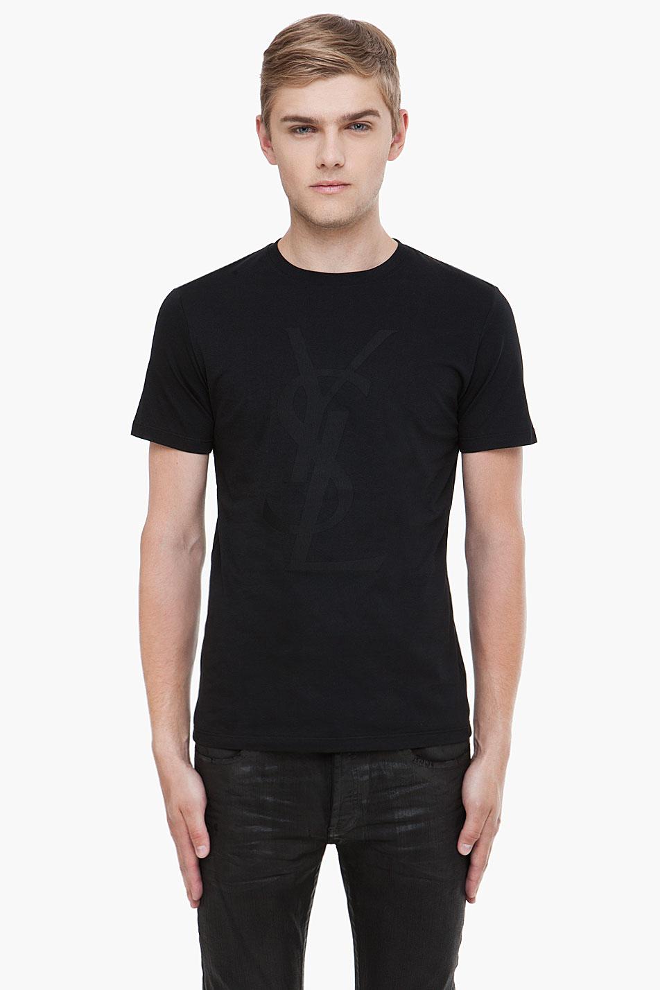 Saint laurent black logo print tshirt in black for men lyst for Yves saint laurent logo shirt