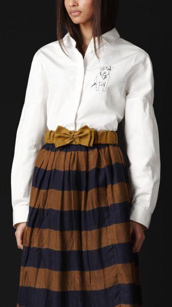 Burberry Prorsum Hound Detail Silk Faille Shirt in White