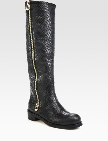 jimmy choo doreen snake embossed leather knee hight boots