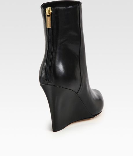 jimmy choo leather wedge ankle boots in black lyst