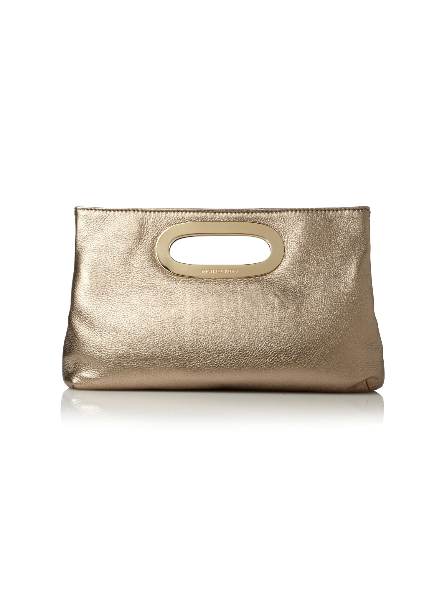michael michael kors berkley clutch in gold metallic lyst. Black Bedroom Furniture Sets. Home Design Ideas