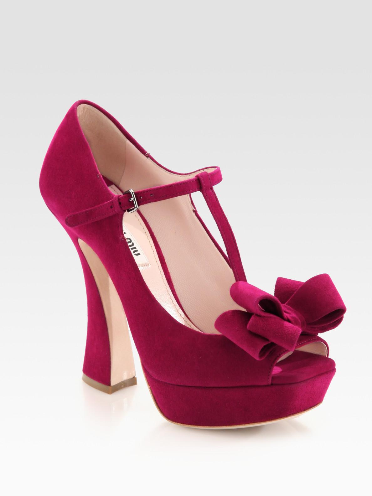 b1bff310858c Lyst - Miu Miu Suede Peep Toe Tstrap Bow Pumps in Pink