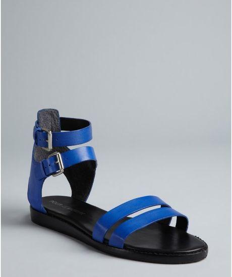 Pour La Victoire Cobalt Leather Double Buckle Straps
