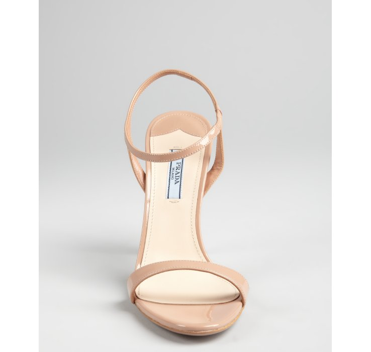 30478f619be Famous Lyst - Prada Nude Patent Leather Ankle Strap Sandals in Natural RW68