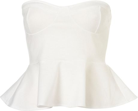 Topshop Bandeau Peplum Top By Oh My Love in White