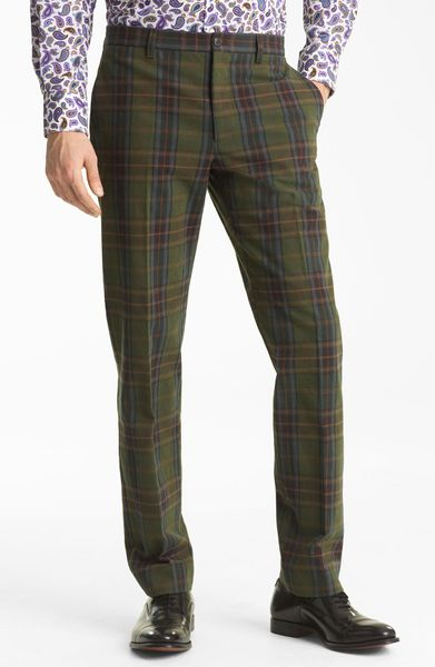 Etro Plaid Flat Front Trousers In Green For Men Lyst