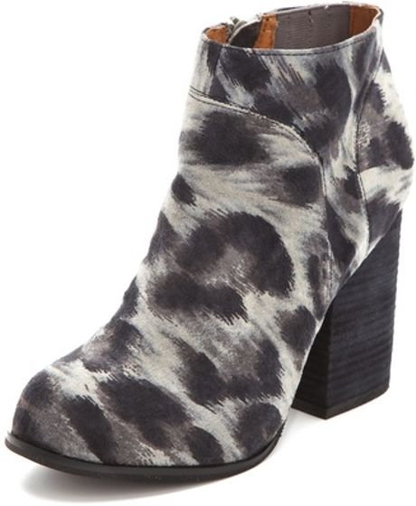 Jeffrey Campbell Hanger Suede Snow Leopard Print Booties in Gray (grey)