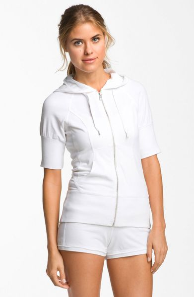 Zella Supersoft Short Sleeve Hoodie In White Lyst