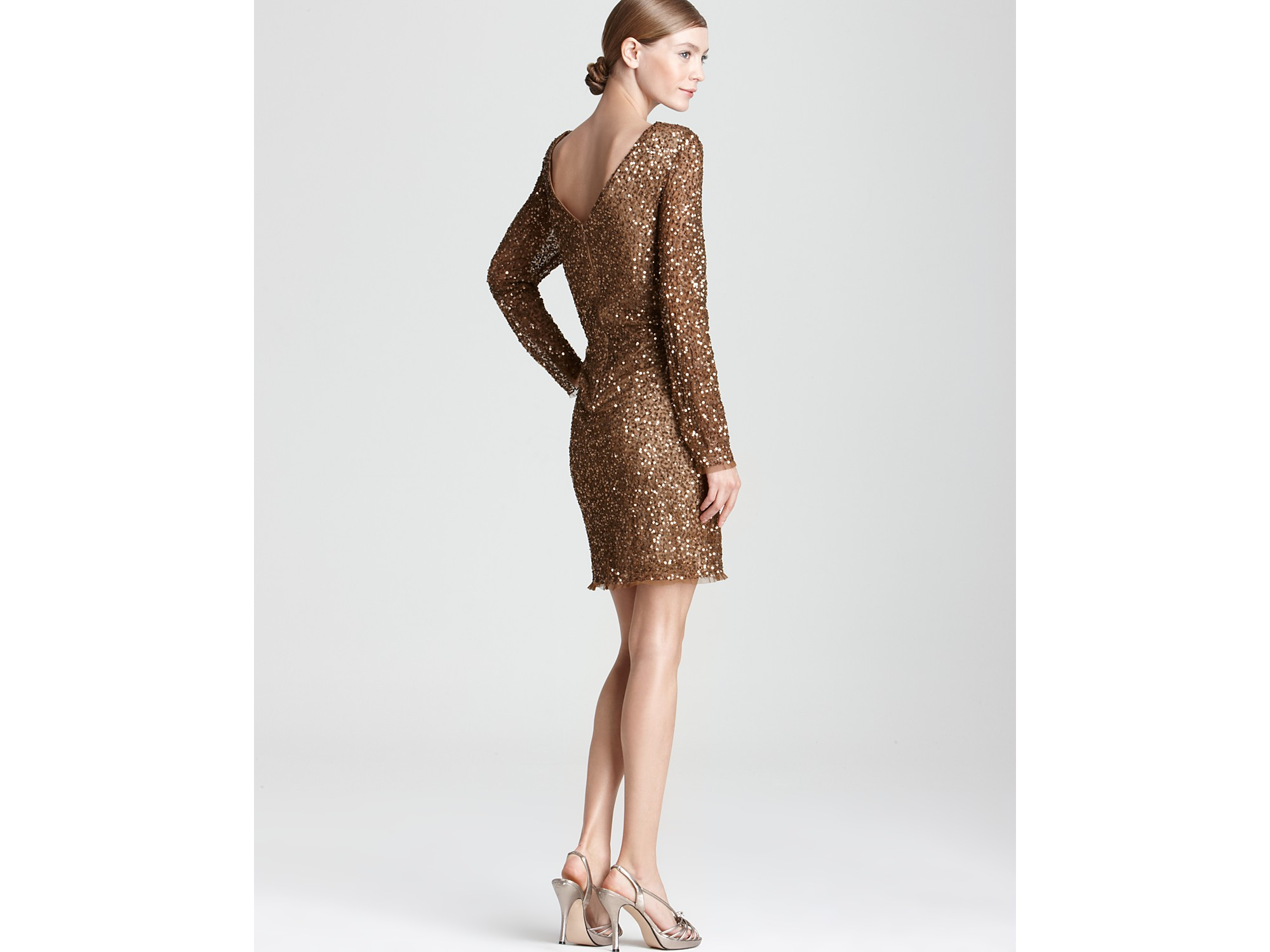 Adrianna papell Sequin Dress Long Sleeve in Brown  Lyst