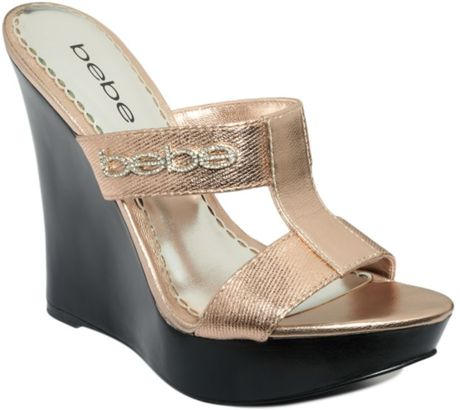 Bebe Freesia Platform Wedge Sandals In Pink Rose Gold Lyst