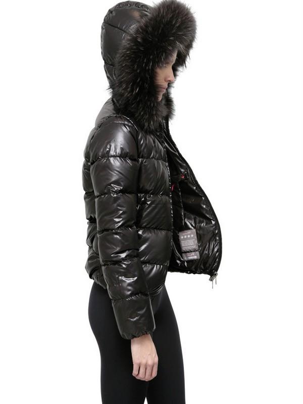 Lyst Duvetica Adhara Fur Hood Shiny Nylon Down Jacket In