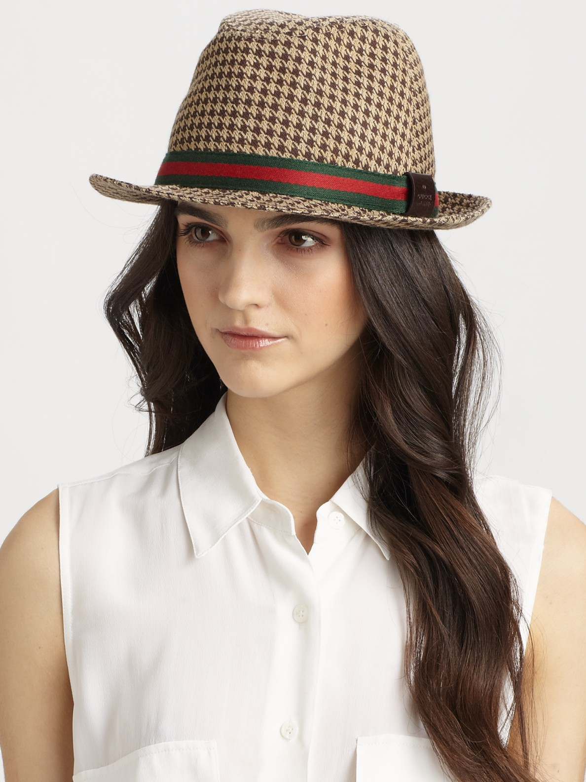 898cafd2b1d Lyst - Gucci Houndstooth Fedora in Natural