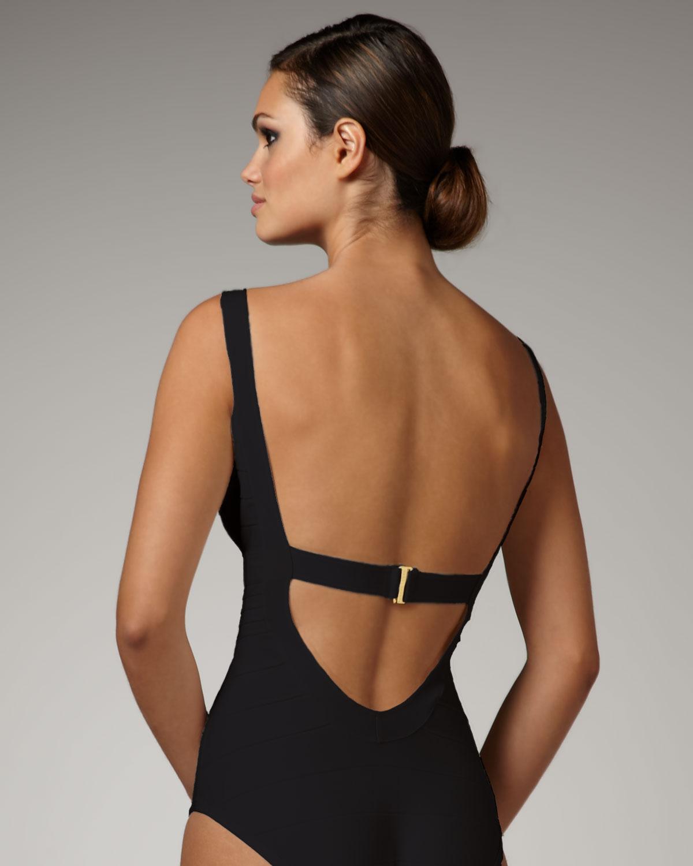 5bfe2997b4bc6 Hervé Léger Basic Bandage Swimsuit, Black in Black - Lyst