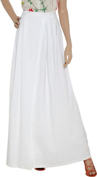 jil sander alster stretch cotton maxi skirt in beige