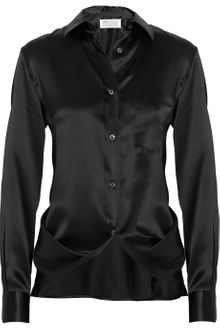 Maison Martin Margiela Draped Silk Satin Blouse - Lyst