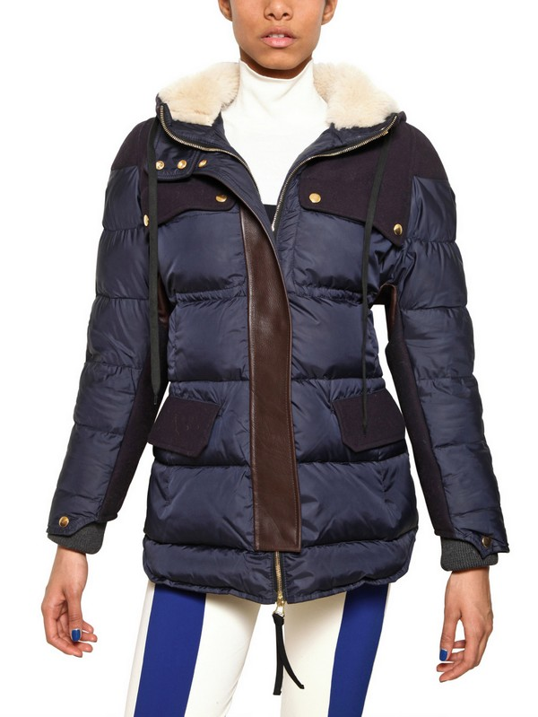 Marni Leather Trim Quilted Nylon Down Jacket In Blue Lyst