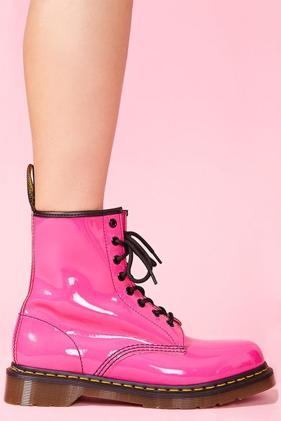 Nasty Gal Classic 8 Eye Boot Hot Pink Patent In Pink Lyst