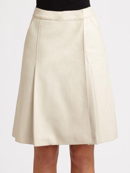 rochas leather skirt in white lyst