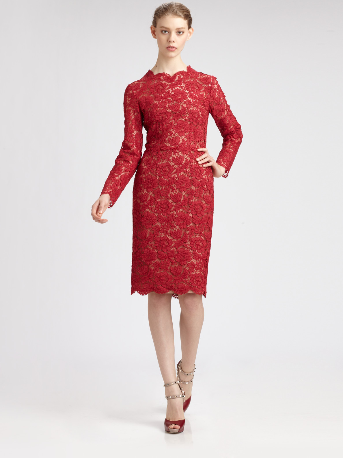 Lyst Valentino Long Sleeved Lace Dress In Red