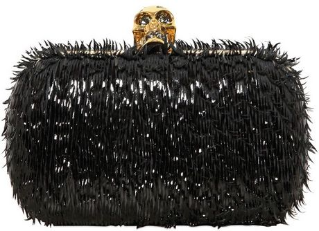 Alexander Mcqueen Classic Skull Splinter Patent Box Clutch in Black