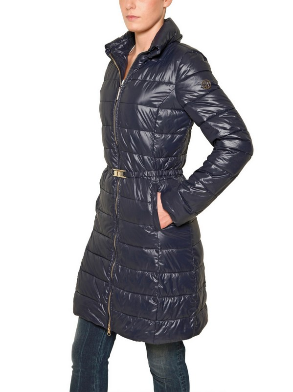 Armani Jeans Long Quilted Nylon Jacket In Blue Lyst
