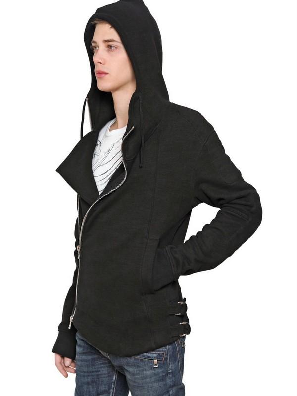 Lyst Balmain Zip Up Hooded Fleece Sweatshirt In Black