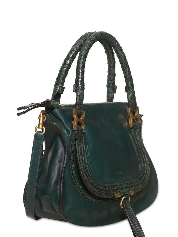 e86feb91bd3 Lyst - Chloé Medium Marcie Leather Python Top Handle in Green