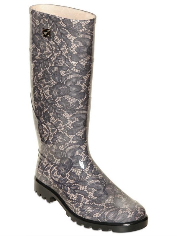 Dolce & gabbana 30mm Pvc Lace Print Rain Boots in Natural | Lyst